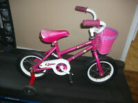 "12"" hot pink by Tattoo with training wheels+basket for 2 1/2-4 y"
