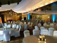 Linen, chair covers, runners, centerpieces and more for rent