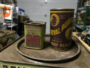 2 RARE ANTIQUE ROYAL PURPLE TINS - ROUP REMEDY & DIARRHOEA TABS