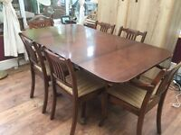 lovely vintage drop leaf table and 6 chairs