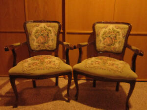 Two classic French provincial style armchairs - what a pair