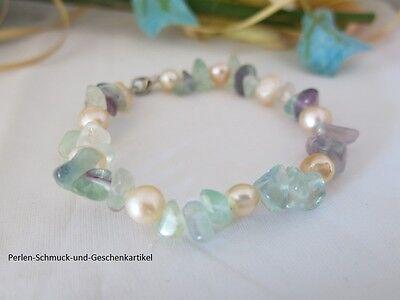 Schickes Armband aus echten Perlen und Steinen, Multicolor, 19cm, Top Geschenk