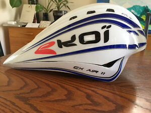Racing helmet for road biking, triathlon, or duathlon