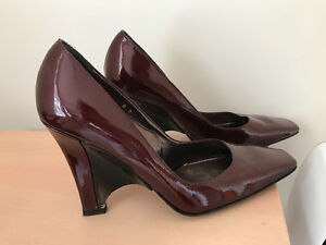Size 8 Made in Italy Real leather wedge shoes
