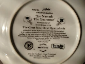 1995 BRADFORD EXCHANGE JOE NAMATH SUPERBOWL III PLATE London Ontario image 4