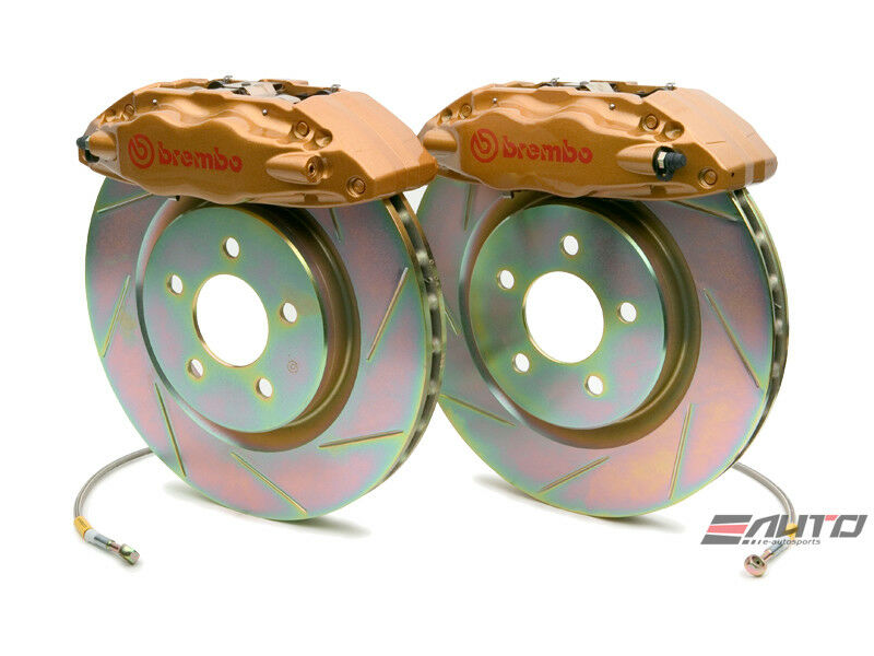 Brembo Front Gt Brake 4pot Caliper Gold 326x30 Slot For Impreza Wrx Legacy 2.5