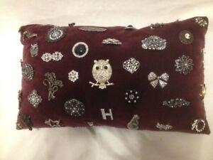 New Plum Velvet Pillow With 40+Vintage Type Rhinestone Brooches