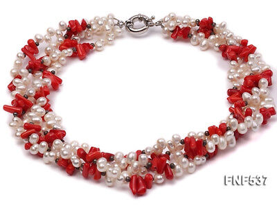 NEW 5-6mm Four-strand White Freshwater Pearls Red Coral Chips Necklace Jewelry Coral White Freshwater Pearls Necklace