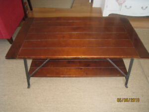 Pottery Barn Wood and Wrought Iron Coffee Table