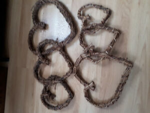 Twine twisted heart decoration 2pc.