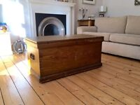 Pine blanket box chest trunk wooden tool Kist coffee table vintage