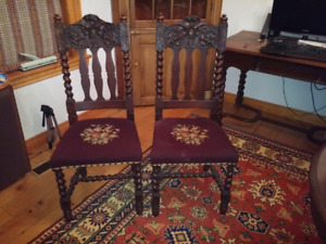 Pair of Antique Victorian Carved Oak Chairs.