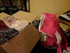 6+ boxes of girls kids clothes and boots, shoes xs- large