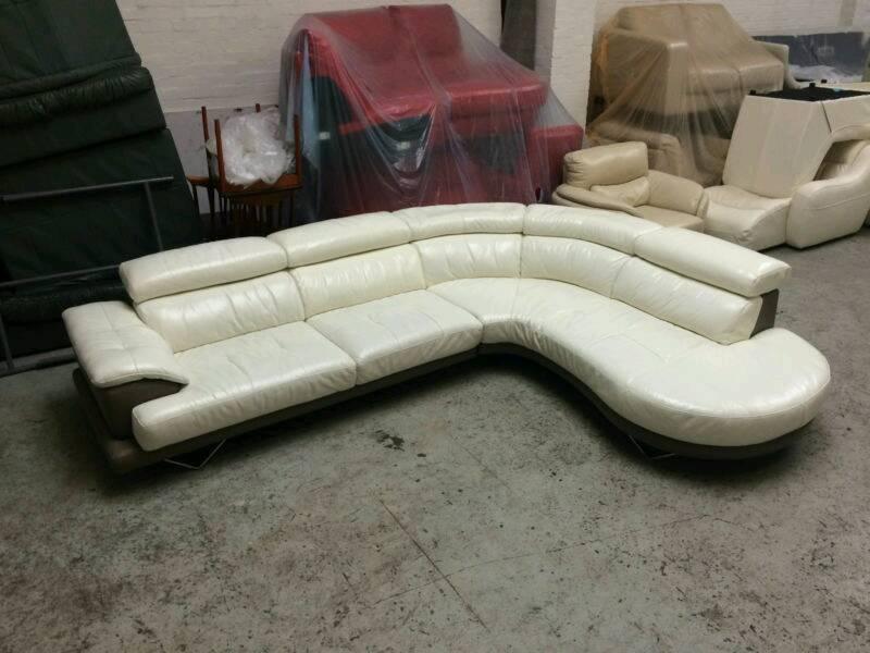White Cream And Grey Leather Corner Sofa Vgc Dfs Cosmo Delivery Possible