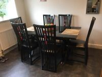 Italian dining table and six chairs