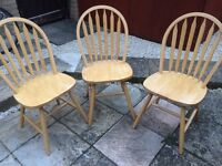 Pine chairs £10 each