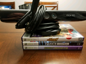 KINECT for Xbox 360 with 3 Games. $40 Firm