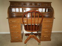 Beautiful Roll Top Desk and Matching Chair