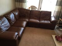 Leather Suite for sale - 5 seater corner sofa, recliner chair and storage foot stool - al