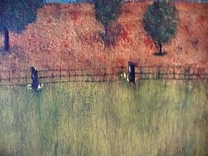 "Original Folk Art Oil Painting ""Autumn Farmland by the River"" Stratford Kitchener Area image 7"