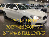 £212.39 PER MONTH - 2013 BMW 116 2.0TD SPORT - 5 DOOR WITH HUGE SPEC INC SAT NAV