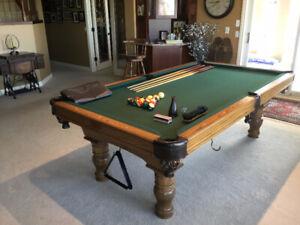 "Solid Oak/Slate Pool Table 45""x89""  plus all accessories"