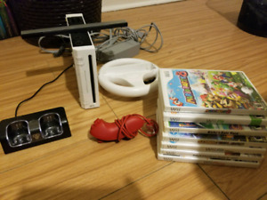 Wii with accessories.