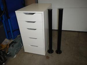 Ikea desk pedestal with 2 legs