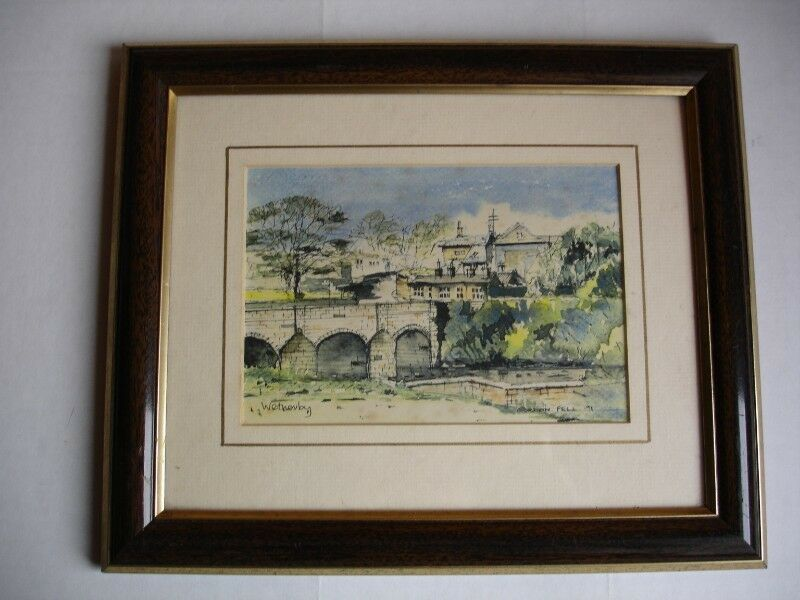 Original Watercolour, Yorkshire Art,  Wetherby Bridge  over the River Wharfe,signed Gordon Fell.