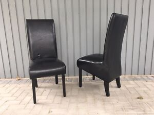Leather dining chairs, 2