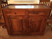 Indonesian sideboard. Table and chairs.