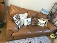 ***DFS LEATHER TAN 3 SEATER SOFA VERY COMFY & SOFT AND LARGE***