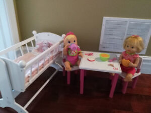 Wooden baby doll furniture with 2 dolls