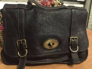 Fossil genuine full grain black leather messenger satchel crossba Hornsby Hornsby Area Preview