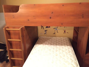 Bunk bed with desk, mattresses, chair