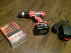 Drill, Battery Charger and Drill Bits