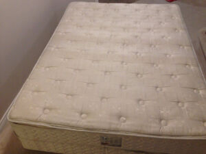 Queen mattress with box spring. Good condition.