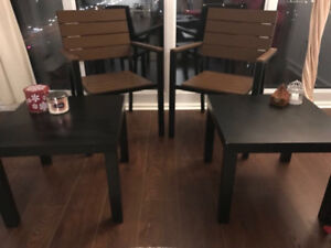 IKEA chairs and black Tables