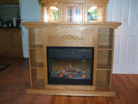 Oak Fireplace with Electric Heater Insert