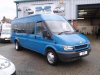 FORD TRANSIT 17 SEAT MINI BUS XLWB TWIN REAR WHEEL RWD ELECTRIC PACK VGC