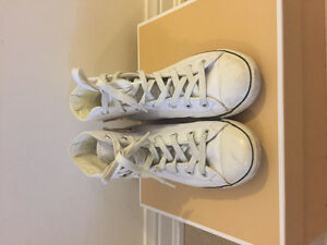 White Leather High Top Converse Size 5