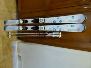 girls skis, boots and ski poles