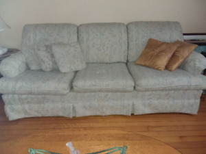 Chesterfield and matching chair with cushions,