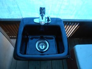 BLACK CAST IRON BAR SINK AND TAPS