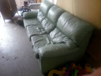 Light Green Leather Couch (loveseat if wanted - extra)