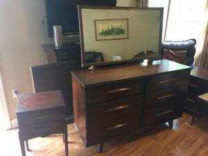 Vintage Kaufman Dresser, Headboard, end table and Vanity