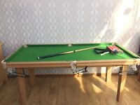 Riley snooker table, cue and snooker balls