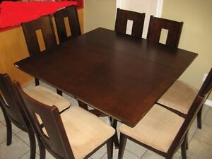 Wooden Square Expresso Colour Dining Table with 8 Chairs