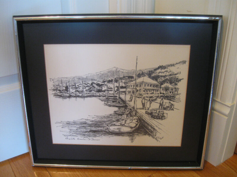 Large Framed Amp Matted Pencil Sketch Quot St Thomas Quot By P