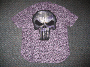 PUNISHER MARVEL CUSTOM BUTTON SHIRT LARGE ARTISTRY IN MOTION DC